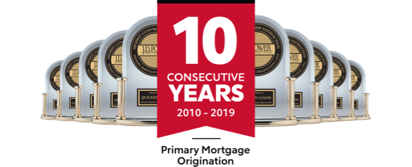 10 J.D. Power trophies for Primary Mortgage Origination from 2010 to 2019