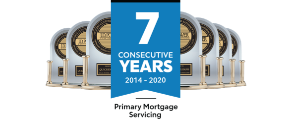 7 J.D. Power trophies for Primary Mortgage Servicing from 2014 to 2020